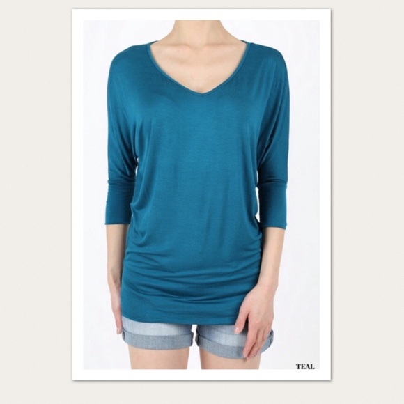 New Womens Sleeve Shirt Blouse Top Teal S M L